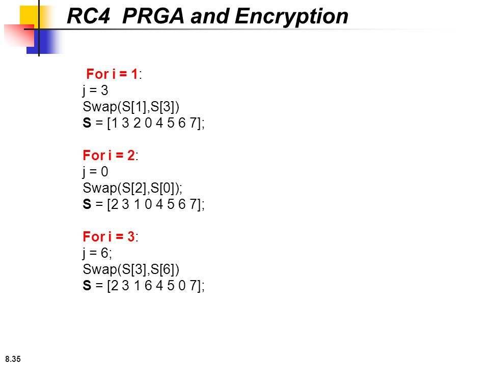 RC4 PRGA and Encryption For i = 1: j = 3 Swap(S[1],S[3])